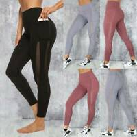 Womens Yoga Pants With Pockets High Waist Fitness Leggings Sports GYM Trousers L