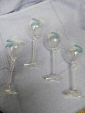 "4 Crystal Stemware Wine Glasses Painted Blue Flower 7 1/2"" tall 2 5/8"" across"