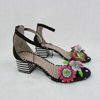 Betsey Johnson Ankle Strap Black Floral Striped Heels Sandals Women's Size 7