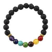 7 Chakra Healing Balance Beaded Bracelet Lava Yoga Reiki Prayer Stone Gifts G