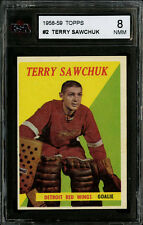 1958-59 TOPPS~#2~TERRY SAWCHUK~HOF MEMBER~DETROIT RED WINGS~KSA 8 NM-MT