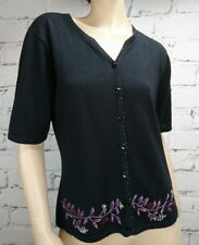 Kathie Lee Collection Cardigan Sz S Short Sleeve Black Beading Embroidery Ramie