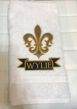 Fleur Di Lis Applique Embroidered Hand Towel Wedding Shower Birthday House Gift