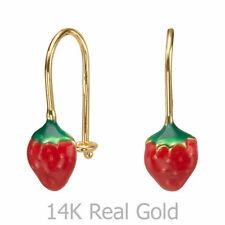 14K Solid Yellow Gold Eliptical Hoop Earrings Strawberry Berry Children Kids
