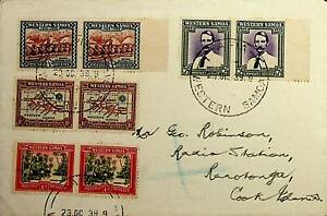 WESTERN SAMOA 1939 4 PAIRS ON REGISTERED COVER TO COOK ISLANDS