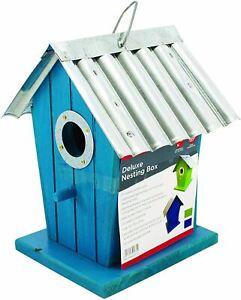 Wooden Deluxe Nesting Wild Bird Box With Hanging Loop Waterproof Aluminium Roof