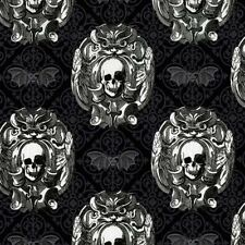 Michael Miler Freak Out CX6637 Gray Gothic Skulls Cotton Fabric
