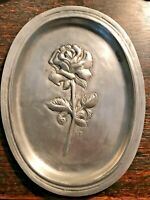 ANTIQUE EMBOSSED ROSE PEWTER WALL PLAQUE DISH TRAY ETAIN TIN HANDMADE VINTAGE