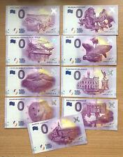 Null € 0-Euro-Schein Souvenir Souvenirschein 9 verschiedene aus Europa FR DE BE
