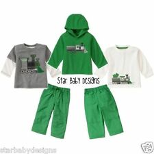 NWT Gymboree,SNOW TRACKS,TRAIN Outfit,3-6 Months,Boys Hoodie,Tops,Pants 4 Pc
