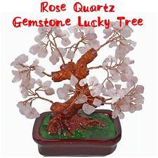 Feng Shui Rose Quartz Natural Pink Crystal Gemstone Bonsai Lucky Money Tree