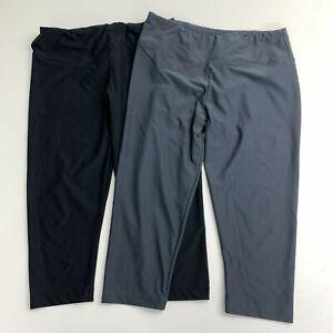 Bally Athletic Capri Pants Lot of 2 Women's L Black Gray Running Yoga Pull On