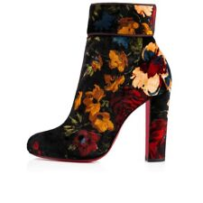 7ae7fea88149 NIB Christian Louboutin Moulamax 100 Black Red Velvet Floral Heel Bootie  36.5