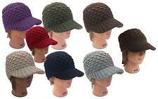 Men Women Winter Visor Beanie Crochet Knit Hat Cadet Ski Beanie Cap - One Size