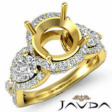 Three Stone Diamond Wedding Pear Round Mount Halo Pave Ring 18k Yellow Gold 1.4C