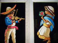 Set 2 Original NOEL ESPINOZA Velvet Paintings MEXICO ART Mariachi & Dancing Girl