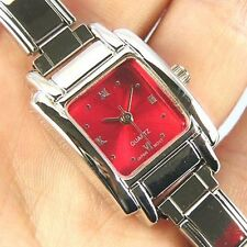 Square Ruby Red 9mm Italian Charm Bracelet Watch BB07