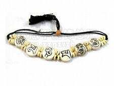 Big Adjustable Tibetan Carved OM Mani Padme Hum Yak Bone Beaded Amulet Bracelet