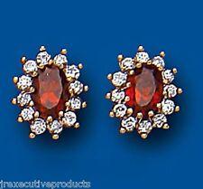 Garnet Earrings Garnet Cluster Stud Garnet Studs Yellow Gold Garnet Earrings
