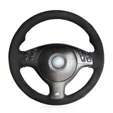 Custom Made Black Suede Hand Sew Wrap Car Steering Wheel Cover for BMW E46 E39