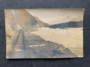 c1910 ALASKA RPPC ABERCROMBIE RAPIDS ! KENNEDY PHOTO ! RAILROAD TRACKS UNUSED !!