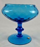 Vintage Empoli Blue Glass Pedestal Optic Compote Italy Mid Century Pedestal