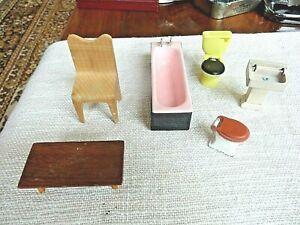 VINTAGE Dolls Hse Sink & Bath LUNDBY? + 2 toilets (1 metal) wooden chair/table