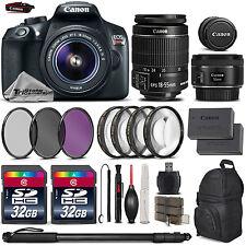 Canon Rebel T6 Camera + 18-55mm Lens + 50mm LENS +EXT BATT +7PC FILTER KIT +64GB