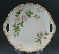 C1900 French Limoges Porcelain Handled Cake Plate w/ Hand Painted Roses
