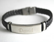 Men's Bracelet With Name -Stainless Steel | Leather Braided | Wedding | Engraved