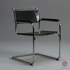 Thonet S34 Freischwinger Bauhaus Klassiker Stuhl Leder Sessel Schwarz Mart Stam