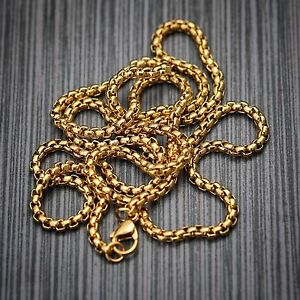 Top Quality18k Gold PVP Stainless Steel High Quality Hip Hop Pearl Box Chain