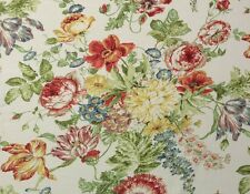 "COVINGTON BLANCHETT MULTI D4075 FLOWERS LINEN MULTIUSE FABRIC BY THE YARD 54""W"