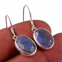 """Faceted-Labradorite Solid 925 Sterling Silver Earring Jewelry 1.2"""" AE-7465"""