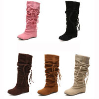 Women Low Heels Snow Boots Tassel Bandage Warm Winter Party Suede Mid-calf Shoes