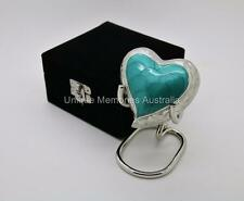 Solid Brass Green Turquoise Heart Cremation Memorial Keepsake Funeral Ashes Urn