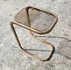 Milo Baughman Italy Brass End Table Side Glass Top 1970 MCM Hollywood Regency
