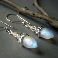 925 Silver White Fire Opal Women Trendy Jewelry Gift Party Ear Dangle Earrings