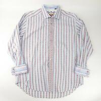 Robert Graham Mens Blue Red Stripe Button Up Long Sleeve Floral Flip Size XL