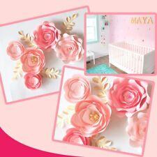Paper Flowers Wall Decor Pink Nursery Flower Baby Shower Table Dessert Backdrop