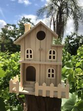 Bird House Wooden  A Roof  Split level House Suitable for 1 Bird