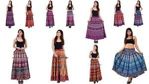 Lot of 5 Indian Women Mandala Rapron Printed Cotton Long Wrap Around Skirt