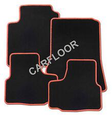 Für SsangYong Korando Bj. ab 2010 Fußmatten Velours schwarz mit Rand rot