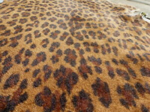 sheepskin shearling leather hide Leopard Print Silky Hair w/Antique Bomber back
