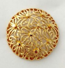 """Domed Swirly Brooch MONET Artistic Circle Ribbon Flowers Gold Tone Signed 2"""""""