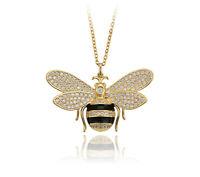 Lange Halskette Biene Anhänger mit Swarovski Kristallen 750er Gold 18K vergoldet
