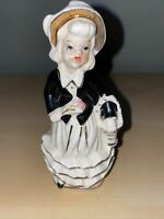 VINTAGE JAPAN CERAMIC GIRL FIGURINE IN Black And White With Gold Trim.