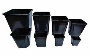 Square Plant Pot .5 1 2 3 5 11 18 25Lt Strong Black Plastic Hydroponic Pots