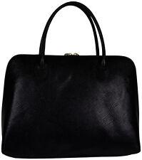 Italien Italy Elegante Leder Tasche Handtasche Schwarz Schultertasche Bag edel