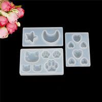 Resina de la joyería molde DIY silicona cristal gato cara garra Luna estrel*ws